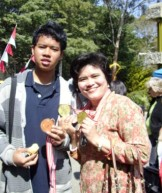 Risa and Rifqi with our medals from sports competition