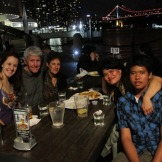 Dinner with Caela's family at Broadwalk cafe, Riverside, Brisbane, 6 October 2010