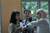 Afie, Nurul and Lisna - preparing the farewell party for graduates. Photy by Indi Utami
