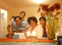 Midnight birthday surprise by Rifqi, Maria and Alberth, with flowers from Victor