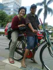 Riding bicycle taxi during my fieldwork in Sunter, North Jakarta, 2011